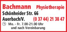 Anzeige Bachmann Physiotherapie