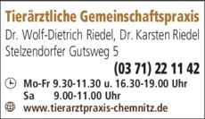 Anzeige Riedel W.-Dietrich Dr. med. vet., Riedel Karsten Dr. med. vet.