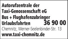 Anzeige Autorufzentrale der Taxi-Genossenschaft eG