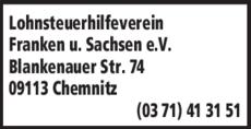 Anzeige Lohnsteuerhilfe Franken und Sachsen e.V.