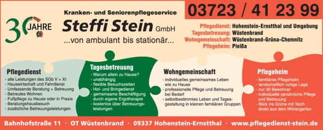 Anzeige Pflegedienst Stein Steffi Kranken- u. Seniorenpflegeservice GmbH