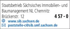 Anzeige Baumanagement Staatsbetrieb Sächsisches Immobilien- und Baumanagement