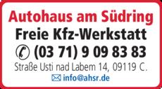 Anzeige Autohaus am Südring GmbH