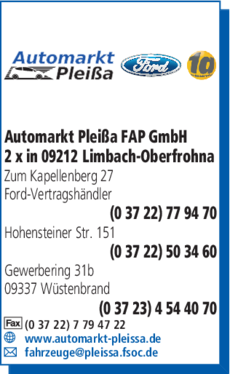 Anzeige Automarkt Pleißa FAP GmbH, Ford-Vertragshändler Ford-Vertragshändler