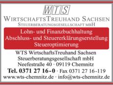 Anzeige Steuerberatung WTS WirtschaftsTreuhand Sachsen GmbH