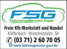 Anzeige FahrzeugService Gase