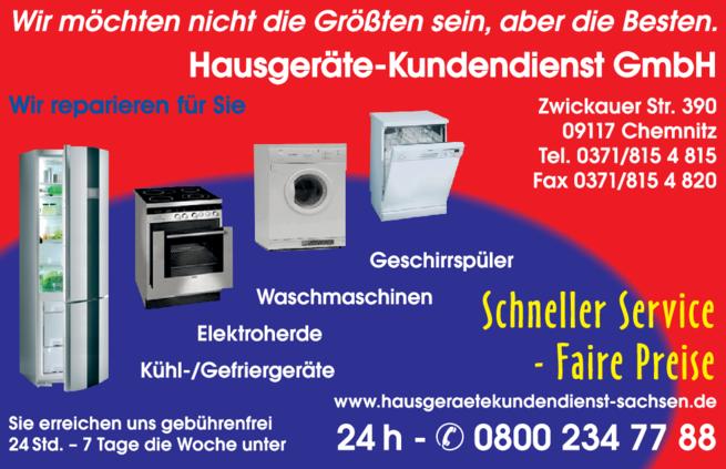 Anzeige Hausgeräte Kundendienst GmbH