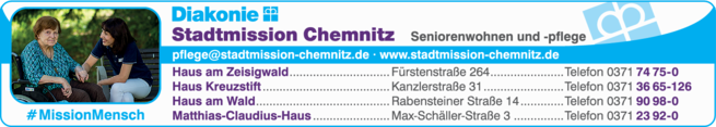 Anzeige Pflegeheime der Stadtmission Chemnitz e.V.