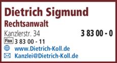 Anzeige Dietrich, Sigmund