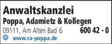 Anzeige Anwaltskanzlei Poppa, Adamietz & Kollegen
