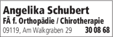Anzeige Schubert Angelika Orthopädin