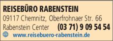 Anzeige Reisebüro Rabenstein Inh. Sylva Schubert