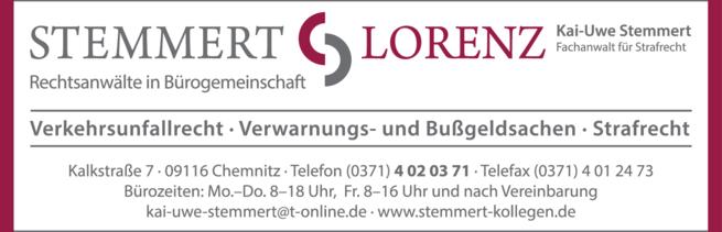 Anzeige Rechtsanwälte Stemmert & Lorenz