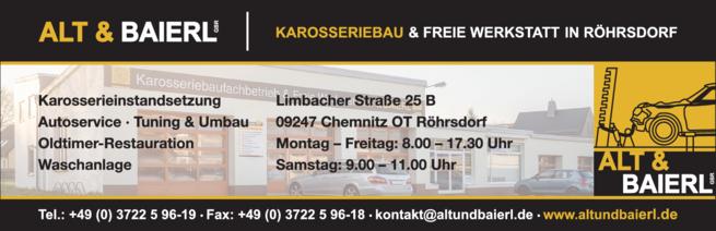 Anzeige Karosseriefachbetrieb und freie Werkstatt Alt & Baierl GbR