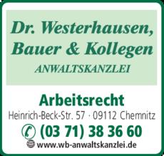 Anzeige Anwaltskanzlei Dr. Westerhausen, Bauer & Kollegen