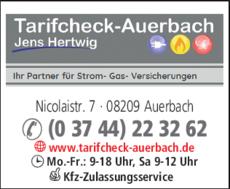 Anzeige Tarifcheck Auerbach Strom Gas Hertwig Jens