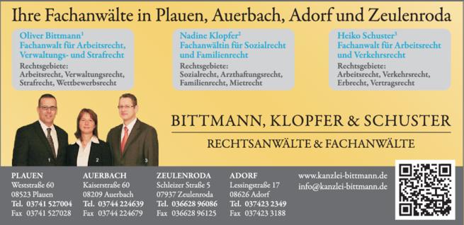 Anzeige Bittmann Klopfer Schuster