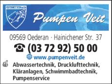 Anzeige Pumpen- u. Abwassertechnik Veit