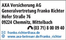 Anzeige AXA Versicherung AG Generalvertretung Franko Richter