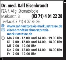 Anzeige Eisenbrandt Ralf Dr. med.