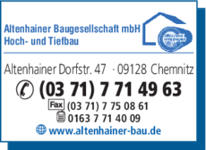 Anzeige Altenhainer Baugesellschaft mbH