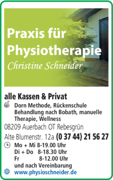 Anzeige Physiotherapie Schneider