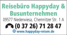 Anzeige Reisebüro Happyday