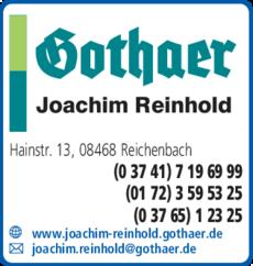Anzeige Gothaer Joachim Reinhold