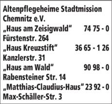 Anzeige Altenpflegeheime Stadtmission Chemnitz e.V.