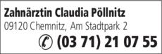 Anzeige Pöllnitz, Claudia Zahnärztin