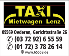 Anzeige Lenz, Ingo Taxi & Mietwagen
