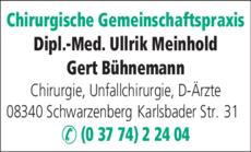 Anzeige Chirurgische Gemeinschaftspraxis Meinhold DM, Schreckenbach Dr.