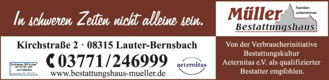 Anzeige Bestattungshaus Müller