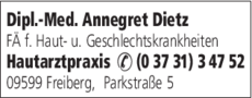 Anzeige Dietz Annegret Dipl.-Med. Hautarztpraxis