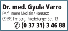 Anzeige Varro, Gyula Dr.med.