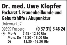 Anzeige Klopfer Uwe Dr.med. Frauenarzt