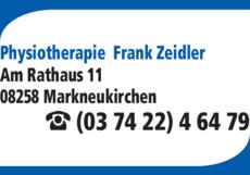 Anzeige Zeidler Frank Physiotherapie