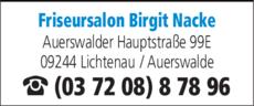 Anzeige Friseursalon Birgit Nacke