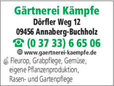 Anzeige Gärtnerei Kämpfe