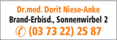 Anzeige Niese-Anke Dorit Dr. med. Fachärztin für Frauenheilkunde und Geburtshilfe