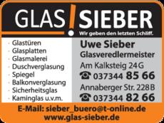 Anzeige Glas Sieber Uwe