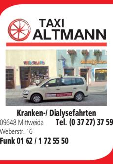 Anzeige Altmann Taxi