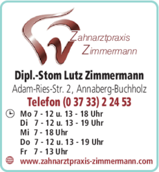 Anzeige Zimmermann Lutz Dipl.-Stom. Zahnarztpraxis