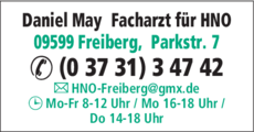 Anzeige May, Daniel Facharzt für Hals-Nasen-Ohrenheilkunde