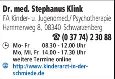 Anzeige Klink Stephanus Dr. med. Kinderarztpraxis
