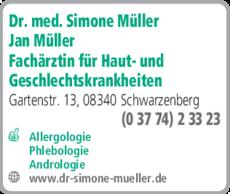 Anzeige Müller Simone Dr.med. und Müller Jan FÄ für Haut- u. Geschlechtskrankheiten
