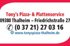 Anzeige Pizzeria Tony's Heimservice