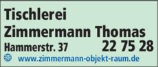 Anzeige Tischlerei Zimmermann Thomas
