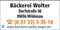 Anzeige Bäckerei Wolter