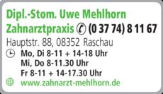 Anzeige Mehlhorn Uwe Dipl.-Stom. Zahnarzt